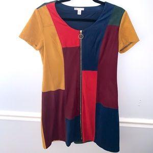 CATO Color Block Zip Up Dress Medium